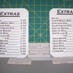 Extras menu sign